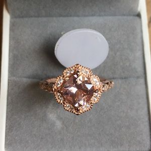 Jewelry - Rose gold Art Deco Engagement Wedding Promise Ring